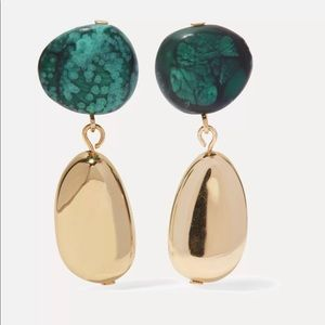 Short Mineral gold-tone Resin Earrings